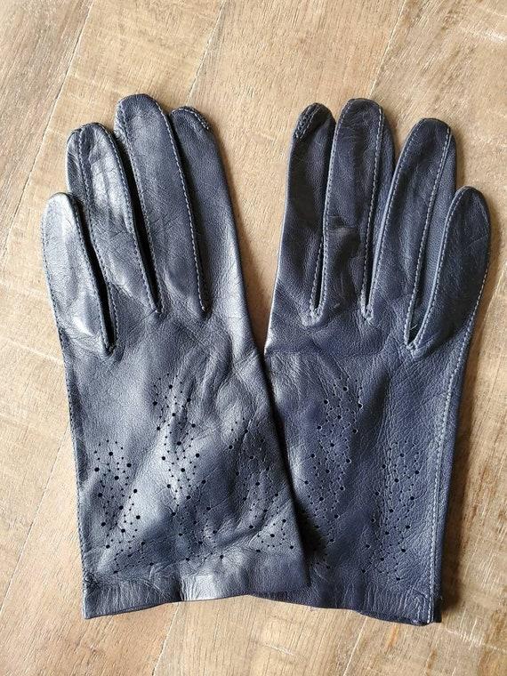 Navy blue leather gloves, vintage gloves, leather