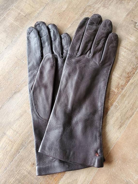Brown leather gloves, vintage gloves, leather glov