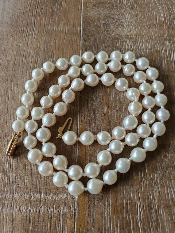 Pearl necklace, genuine pearl strand necklace, fre