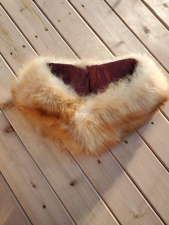 Red fox fur collar, vintage fox collar, red fox co