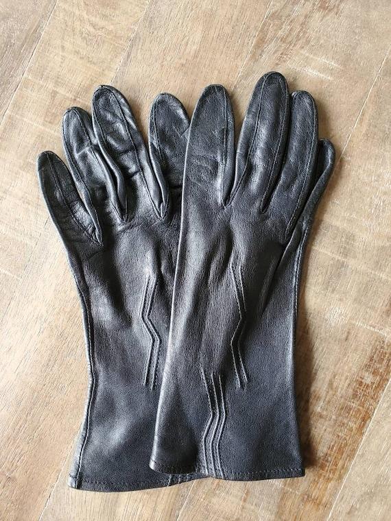 Black leather gloves, vintage gloves, leather glov