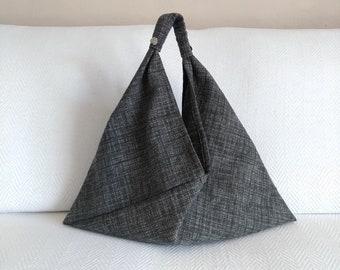 Japanese Origami Bag, Bento Bag, Triangle Tote Bag, Upholstery Fabric Shoulder Bag, Azuma Bukuro Bag, Melange Gray Black Minimalist Bag