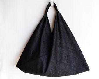 Japanese Origami Bag, Black Denim Shoulder bag, Azuma Bag, Denim  Hobo Bag, Black Minimalist Bag, Denim Tote bag, Bento bag