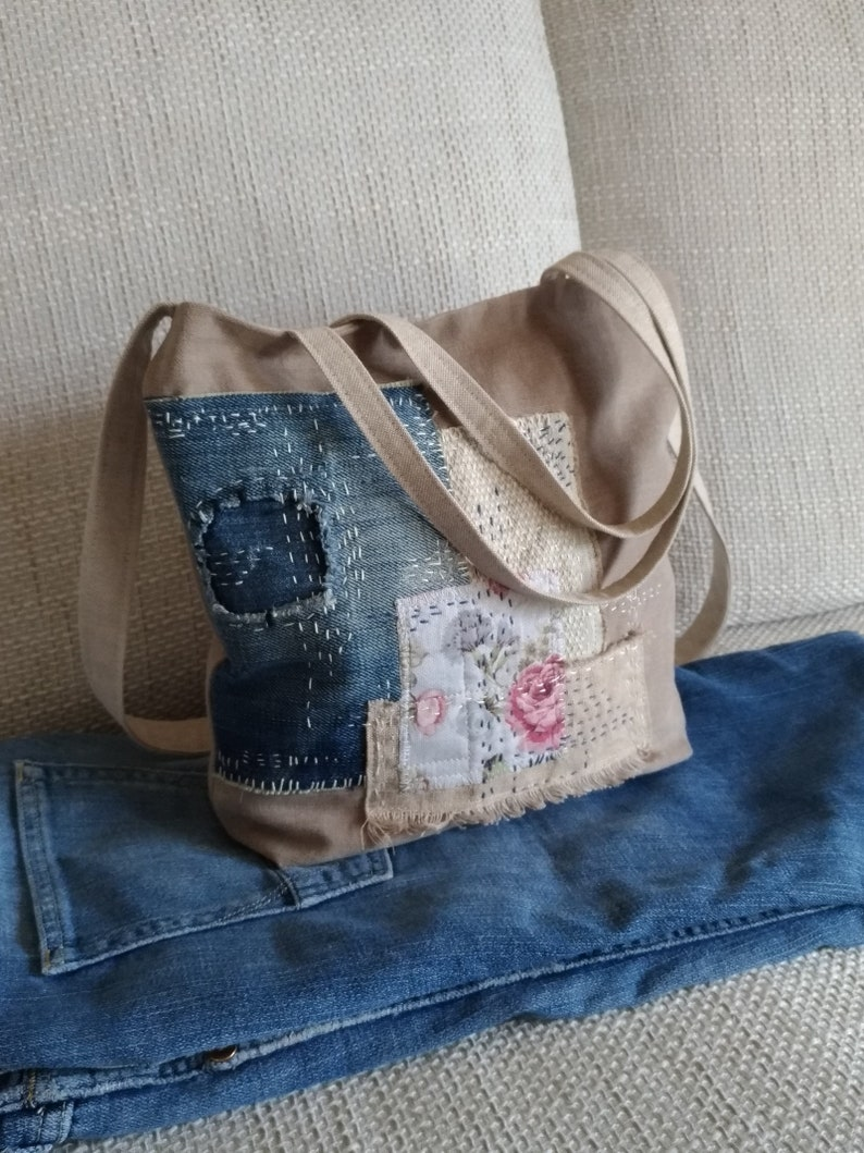 7ccd766e689b Sashiko Boro Bag, Upcycle Jeans Tote Bag, Sashiko Handstitch, Reclaimed  Cotton Linen Fabrics, Canvas Purse