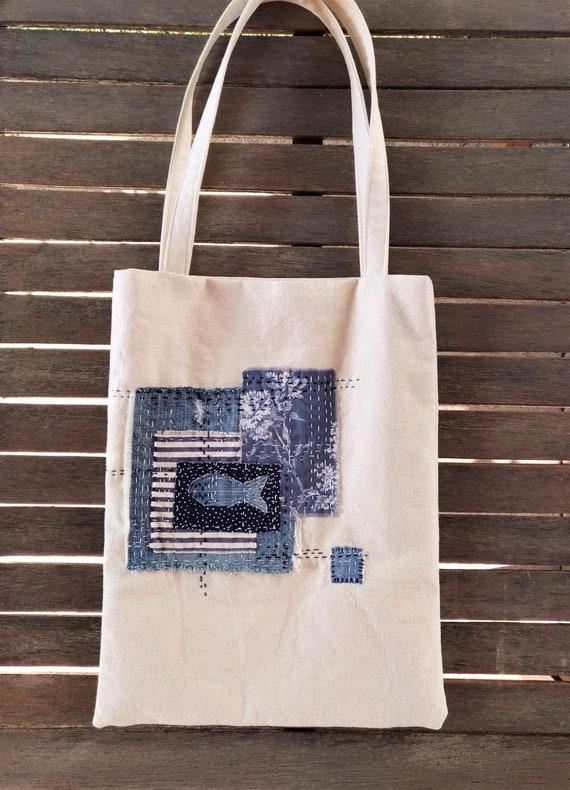 Boro style Sashiko denim pouch
