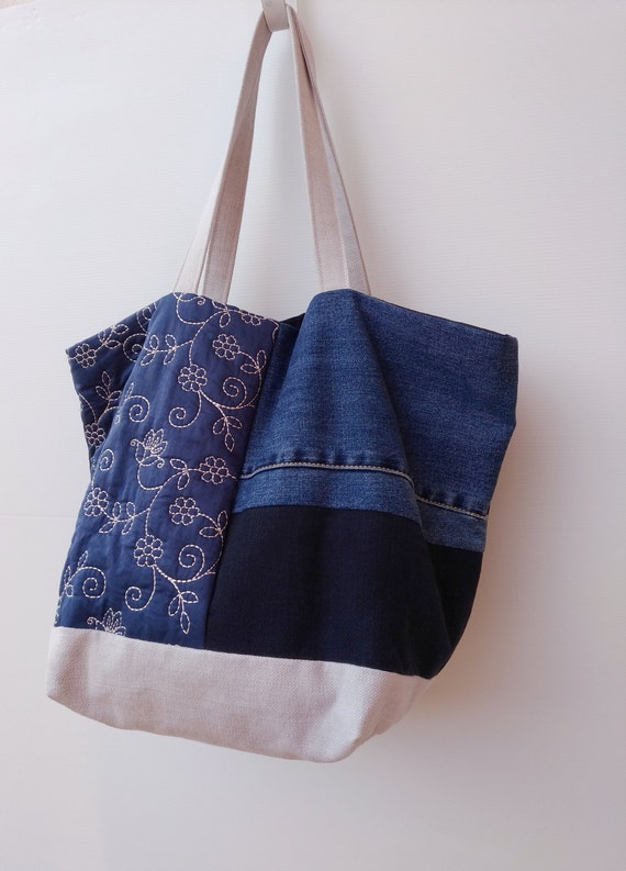 fc5af2940 Patchwork Bag from Recycled Jeans Upholstery Quilted Fabric   Etsy
