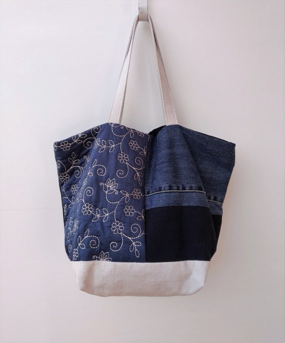 Patchwork Bag from Recycled Jeans Upholstery Quilted Fabric  a8aedb1a29245