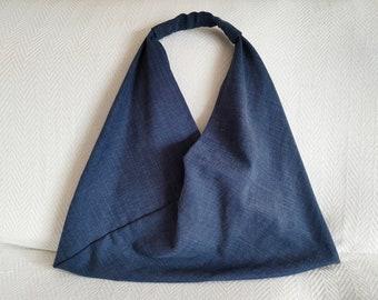 Origami Japanese Bag, Indigo Blue Azuma Bag, Large Shoulder Bag, Upholstery Canvas Bag, Minimalist Bag, Triangle Bag, Bento Bag