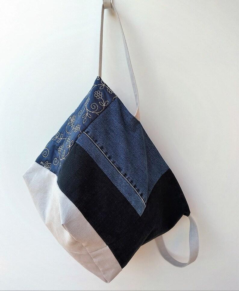 Borsa Patchwork Jeans Riciclato Tessuto Arredo trapuntato e  cddd39b09e7
