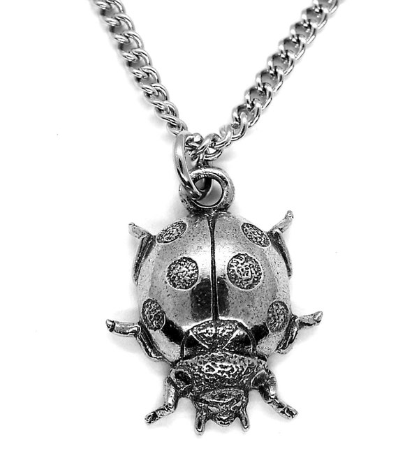 Ladybird Pendant Necklace with Chain Silver Pewter Made in The UK