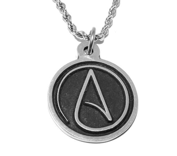 Black Pewter Atheist Symbol Pendant Necklace