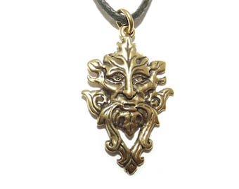 Bronze Green Man Face Pagan Celtic Pendant / Wicca Necklace
