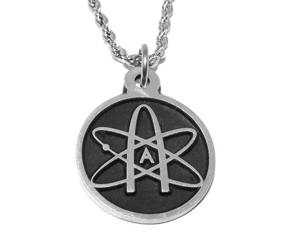 Black Pewter Atheist Atom Science Symbol Pendant Necklace Etsy