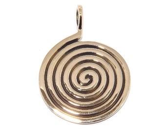 Pagan Bronze Spiral Labyrinth Maze Pendant Necklace (Spiritual Journey)