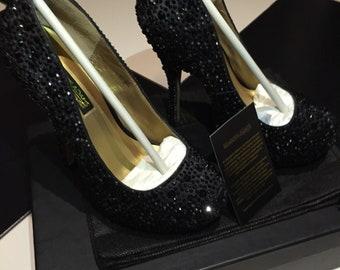 BENJAMIN ADAMS LONDON Crystal Black Heels