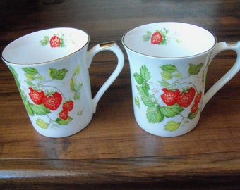 Vintage 2 Bone China cups by Queen's. Made in India  (#EV397)