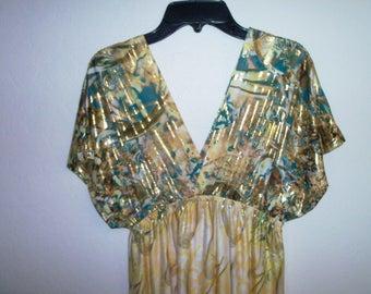 "Vintage  ""Shoreline""  Chic polyester knit maxi dress. Size S/M  (#EV281)"