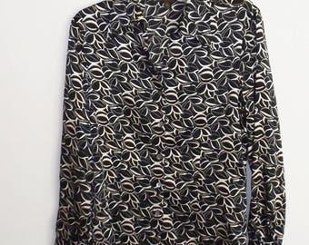 "Vintage ""Tesori"" silk long sleeve blouse. Size M (#EV284)"