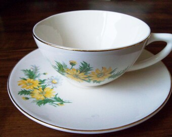 Vintage porcelain Daisy tea/coffee cup & saucer (#EV253)