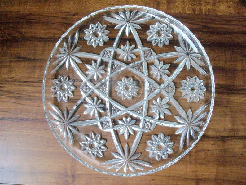 Vintage Crystal pie platter 11W #EV414