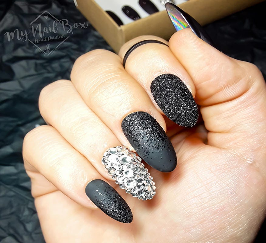 Black Nails, Press on nails, Swarovski Nails, Acrylic Nails, Glue On ...