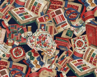 Sewing Basket & Notions Novelty Print Fabric