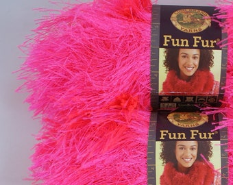 4 skein lot - Flamingo / Hot Pink Lion Brand Fun Fur Yarn #102 Eyelash type yarn