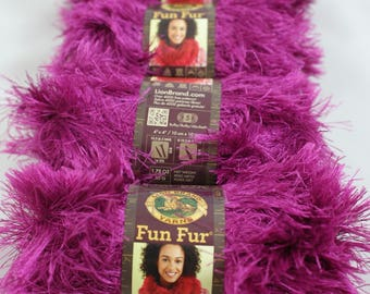 4 skien lot MAGENTA Lion Brand Fun Fur Yarn  color #146 - rich looking eyelash yarn