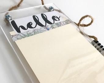 hello dry erase board / acrylic whiteboard / small acrylic dry erase / dorm door sign / note board / wanderlust office decor / dry-erase