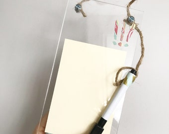decorative acrylic dry erase board / reminder board / reusable to do list / whiteboard with marbled paper accents / small erasable sign