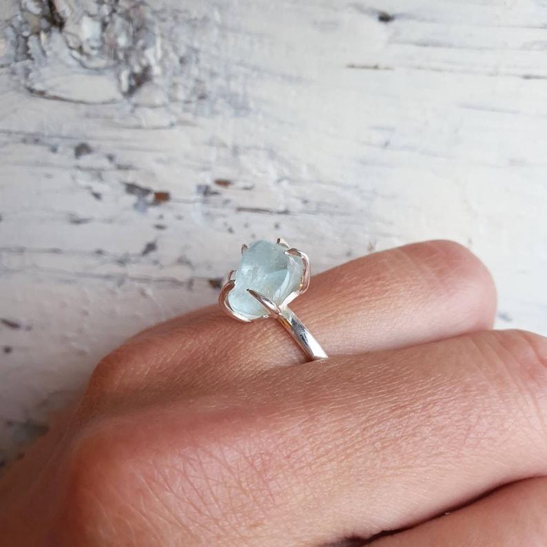 Blue Topaz Ring Raw Topaz Engagement Gemstone Adjustable Ring Chakra Crystal November December Birthstone Topaz Jewelry
