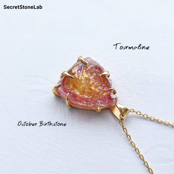 October Birthstone Necklace Crystal Raw Gemstone Personalized Jewelry Natural Tourmaline