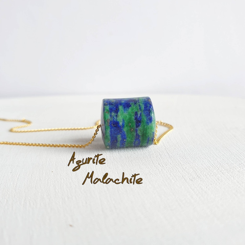Azurite Malachite Necklace Azurite Necklace Mens Necklace Unisex Gift  Planete Necklace Blue Gemstone Necklace Sister Gift For Husband