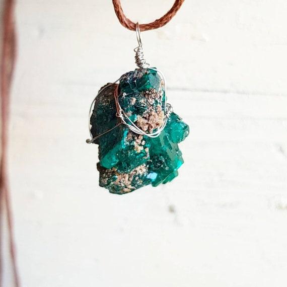 Dioptase necklace dioptase pendant dioptase jewelry raw etsy image 0 aloadofball Choice Image