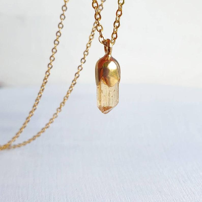 Imperial Topaz Necklace November Birthstone Rough Topaz Raw Topaz Anniversary Wife Gift For Sister Orange Gemstone Necklace Sacral Chakra
