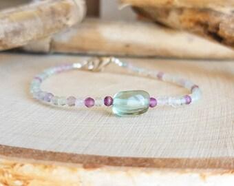 Fluorite Bracelet Green Fluorite Purple Fluorite Delicate Gemstone Bracelet Dainty Bracelet Gift For Sister Fluorite Jewelry Beaded Bracelet