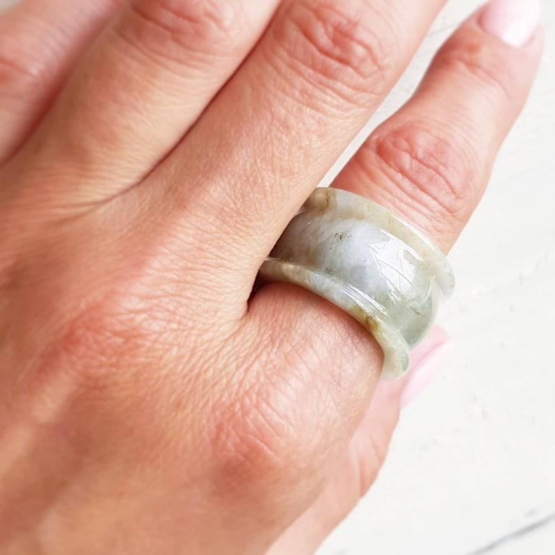Jade Ring USA 9 Burma Jade White Green Jade Jadeite Band Ring Men Ring Semi Tranclusent Vintage Jadeite Ring Gift For Husband  \u8207\u767d\u7389\u88dd\u98fe \u4e0e\u767d\u7389\u88c5\u9970