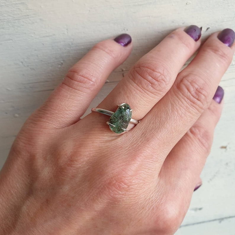 Emerald Ring Raw Emerald Ring Green Gemstone Genuine Emerald Crystal For Chakra Natural Raw Gemstone Ring Regulate Size Solid Silver 925