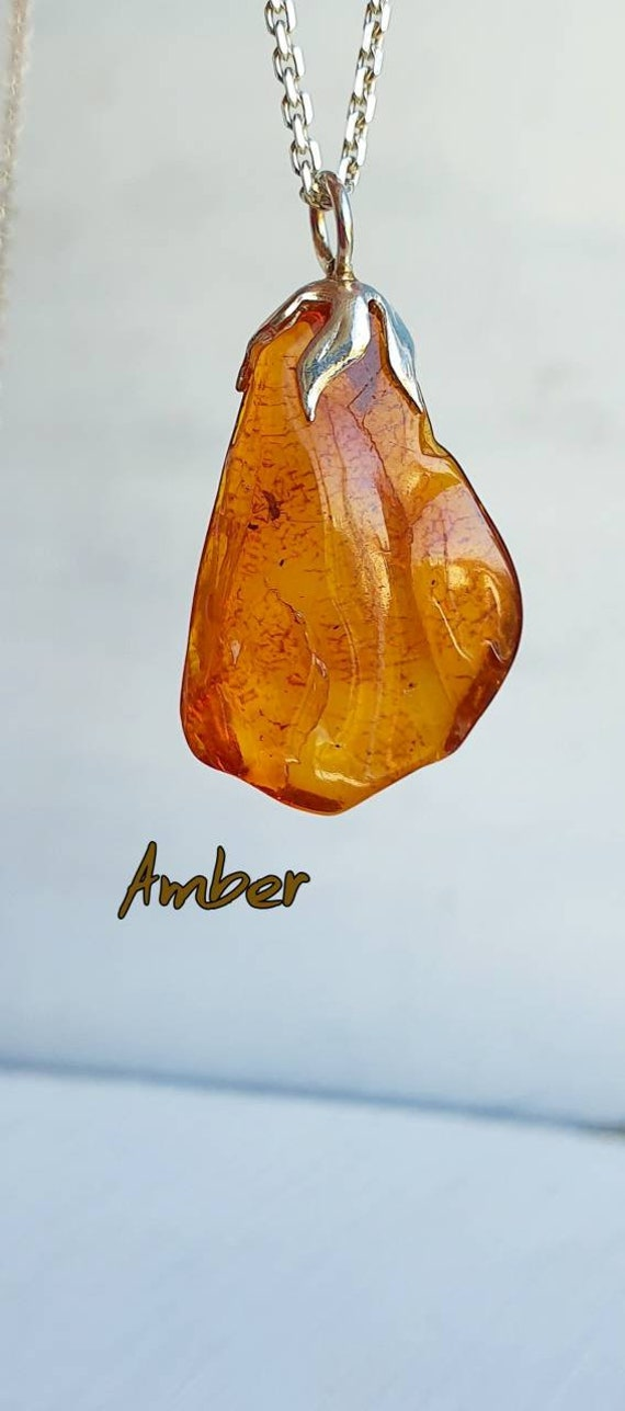 Butterscotch Amber Pendant with 925 Silver Bail,Amber Necklace,Genuine Natural Baltic Amber Raw Stone Necklace,Gemstone Necklace