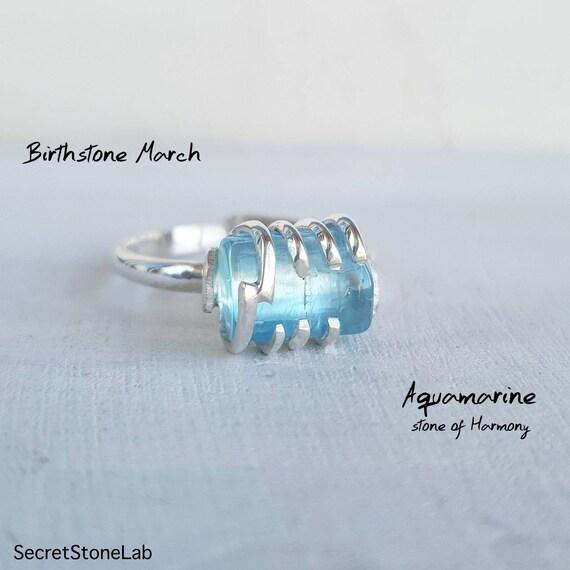 Aquamarine Ring Raw Aquamarine Crystal Stone Adjustable Ring Engagement Ring March Birthstone