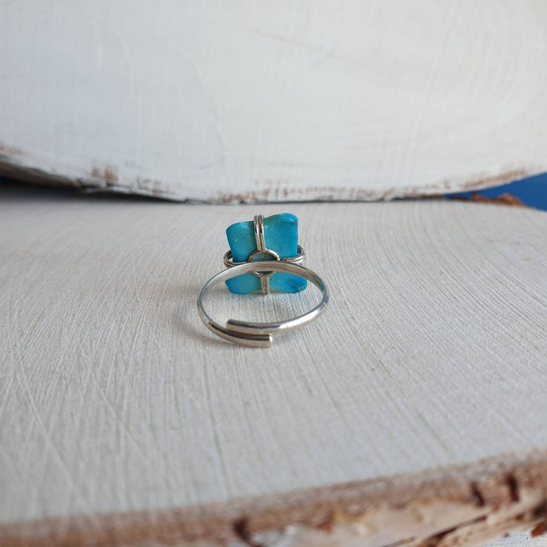 Chrysocolla Ring Raw Turquoise Colored Gemstone Adjustable Ring Blue Chrysocolla Jewelry Wife Gift For Sister Gift For Mom Unisex Gift