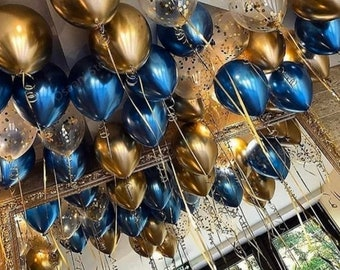 11 16 24 36 inch size Metallic Silver Sky Blue Confetti Balloon party bachelorette wedding bridal shower birthday glitter