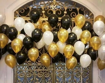 18pcs Black White And Gold Balloon Bouquet Metallic Confetti Balloons Party Decorations Wedding Birthday Decoration