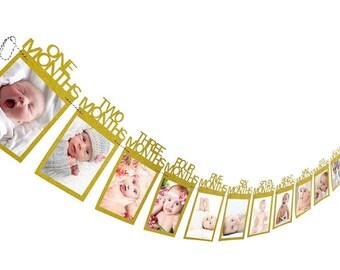 GOLD First Birthday Photo Banner, 1st Birthday First Year Banner, 12 Month Banner, Monthly Photo Banner, Picture Banner, 1st year banner