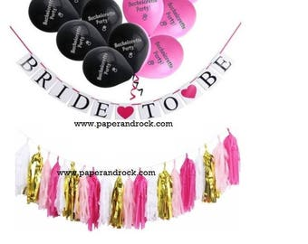Bachelorette Party Set /Balloon / Bride To Be Banner / Pink and Black Balloon / Tissue Garland / Wedding Party / Party Decor / Bridal Shower