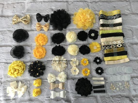 Headbands Baby Shower Headband Station Baby Girl Headbands Baby Shower Activity Kit White Yellow Black DIY Baby Headband Kit MAKES 25
