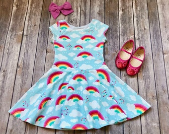 Rainbow Dress. Toddler Dress. Little Girl Dress. Twirl Dress. Twirly Dress. Baby Dress. Baby Rainbow Dress. Rainbow Party Dress. Comfy Girl.