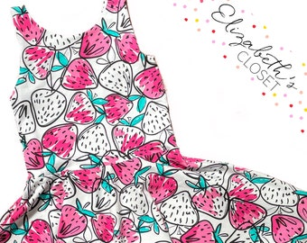 Strawberry Strawberries Summer Floral Twirl Dress Perfect Wedding Gift Special Baby