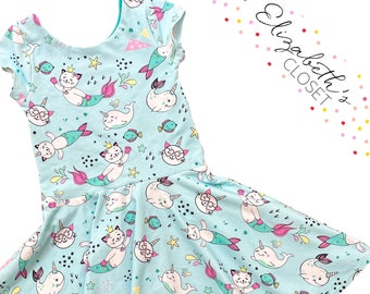 Mermaid Cat Dress, Mermaid Birthday Party Dress, Back to School Dress, Toddler Twirl Dress, Twirl Dress, Little Girl Dress, Rainbow Dress
