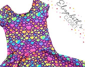 Rainbow Heart Dress, Rainbow Party Dress, Back to School Dress, Toddler Twirl Dress, Twirl Dress, Little Girl Dress, Heart Dress